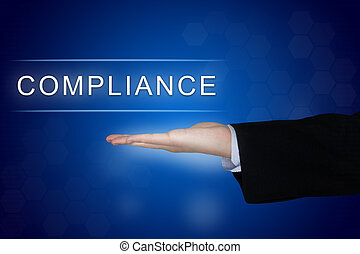 compliance button on blue background - compliance button...