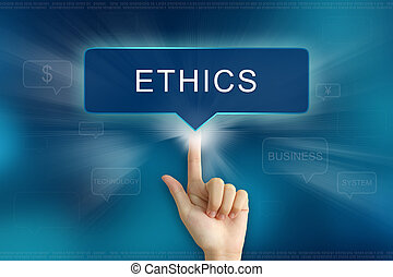 hand clicking on ethics button - hand pushing on ethics...
