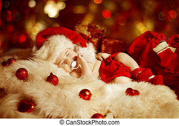 Christmas Newborn Baby Kid Sleeping