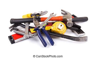 工具, 工作, 背景, 堆, 白色