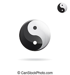 Ying and Yang sign, religious symbol, raster icon on white...