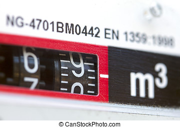 macro shot of gas meter numbers