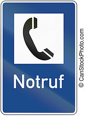 Emergency telephone sign in Germany, Notruf means emergency call