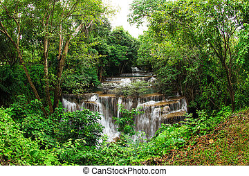 The fourth level of Huai Mae Kamin Waterfall in...