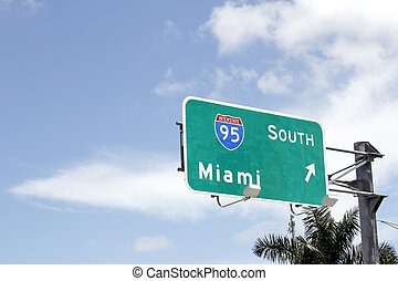 Interstate 95 South to Miami Sign - Large road sign...