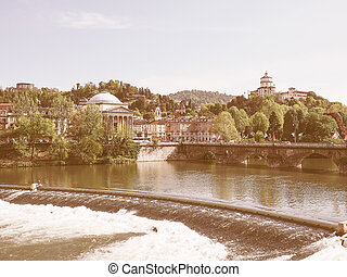 Retro looking River Po Turin - Vintage looking Po River and...