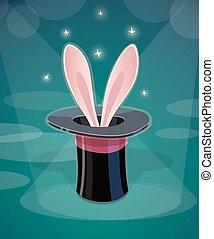 Magic cap and rabbits ear - Magic cap and ear Eps10 vector...