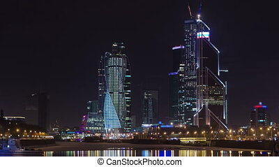 Skyscrapers International Business Center City at night timelapse hyperlapse, Moscow, Russia
