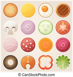 Set of food. Vector icons.