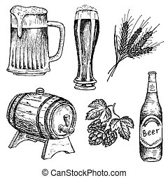 bitter beer. hand drawing set of vector sketches