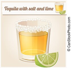 Tequila with salt and lime Detailed Vector Icon Series of...