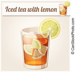 Glass of iced tea. Detailed Vector Icon. Series of food and...