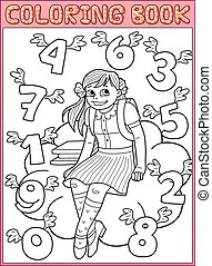 Schoolgirl and flying numbers - Coloring book page...