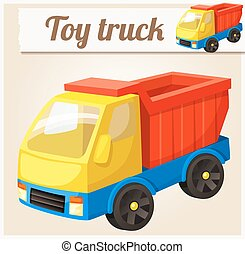 Toy truck. Cartoon vector illustration