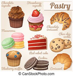 Set of food icons. Pastry
