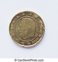 Belgian 20 cent coin - Currency of Europe 20 cent coin from...