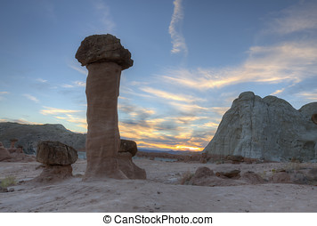 Hoodoo Sunset - Hoodoo sunset at the Toadstools rock...