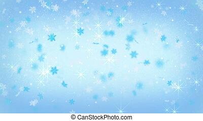 magic christmas snowfall on blue