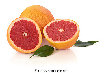 Ruby Red Grapefruit - Ruby red grapefruit with leaves,...