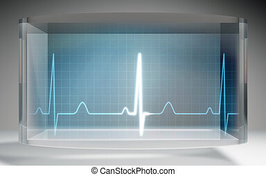 futuristic EKG medical liquid crystal display blue - The...