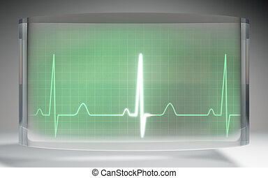 futuristic EKG medical liquid crystal display green - The...