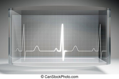 futuristic EKG medical liquid crystal display grey - The...