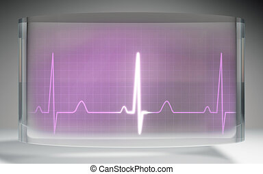 futuristic EKG medical liquid crystal display pink - The...