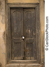 The Old wooden Door, Background - The Old Cracked wooden...