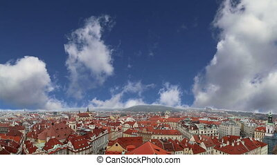Prague roof tops and Old Town Square, Czech Republic