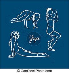 Set Of Yoga Poses. Blue Background.eps