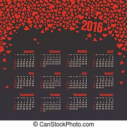 Calendar for 2016 with heart. Week Starts Sunday.