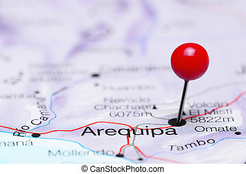 Arequipa pinned on a map of America - Photo of pinned...