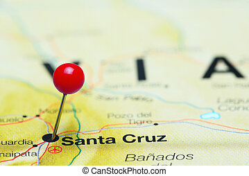 Santa Cruz pinned on America map - Photo of pinned Santa...