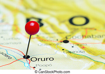 Oruro pinned on a map of America - Photo of pinned Oruro on...