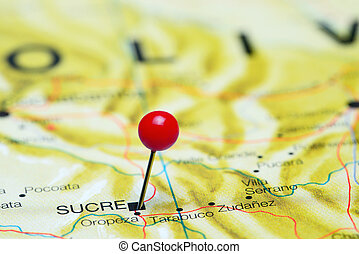 Sucre pinned on a map of America - Photo of pinned Sucre on...