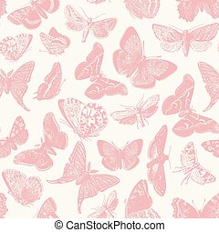Butterfly Pattern - Seamless pattern design with ephemeral...