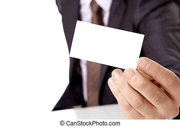 Cut-away - Occupied the person holds a card in a hand