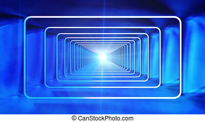 Broadcast Endless Hi-Tech Tunnel, Blue, Rectangle, Loopable, HD