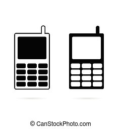 mobile phone set black vector silhouette
