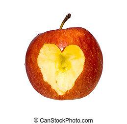 Coração, maçã, maçã, caído, Amor
