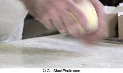 preparing french brioche - braiding brioche dough portions