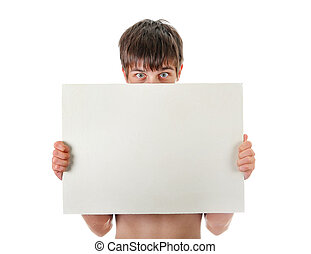 Young Man with Blank Board - Surprised Young Man behind the...