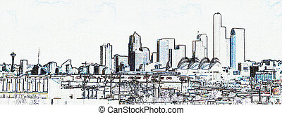 Architectual Conceptual View of Seattle Skyline from the...