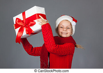happy girl with Christmas present