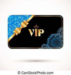 Black vip card vector template with blue glitter effect and golden bow