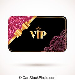 Black vip card template with pink glitter effect and golden...