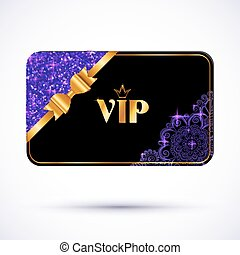 Black vip card template with purple glitter effect and...