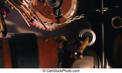 The internal mechanism of a film projector