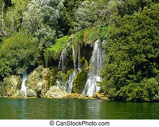 Krka National Park - Roski slap. Krka river in Krka National...