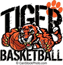 tiger basketball team design with mascot holding a...